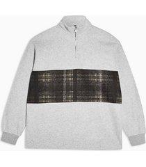 mens grey check panel 1/4 zip sweatshirt