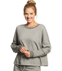 beyond yoga women's lasso tie crop topped pullover - mid heather gray x-small cotton