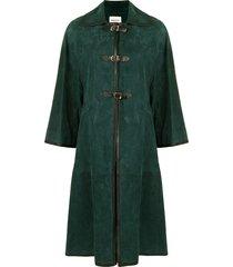 khaite buckle-fastening cape - green