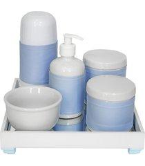 kit higiene espelho completo porcelanas, garrafa pequena e capa azul quarto bebê menino