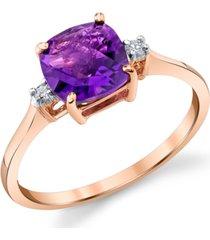 amethyst (1-3/8 ct. t.w.) & diamond (1/20 ct. t.w.) ring in 14k rose gold