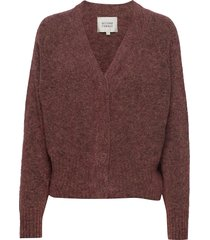 brook knit boxy cardigan stickad tröja cardigan röd second female