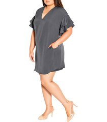plus size women's city chic double frill a-line dress, size xx-large - grey
