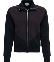 bottega veneta bicolor sweatshirt in technical fabric