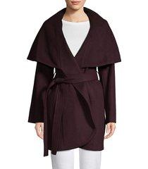 t tahari women's marla wool blend oversized collar wrap coat - chive - size s