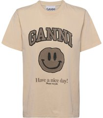 basic cotton jersey t-shirts & tops short-sleeved rosa ganni