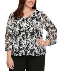 alex evenings plus size soutache blouse