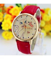 fashion women pu leather strap analog quartz wrist watch cute cat watches clock
