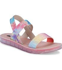 girl's tie-dye & glitter band sandals