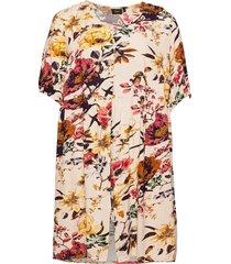 dress short sleeves plus floral print viscose kort klänning beige zizzi