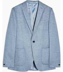 mens blue skinny fit single breasted jersey blazer with notch lapels
