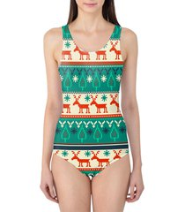 ugly christmas sweater women's swimsuit