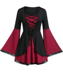 plus size halloween color block bell sleeve lace up t shirt