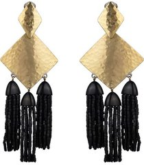 buffedss fringe clip earrings, women's, josie natori