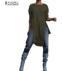 zanzea otoño de las señoras de cuello redondo liso de split largo tapas ocasionales de la camisa de la blusa pullover -ejercito verde