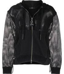 diesel mesh-sleeve zip-front hoodie - black