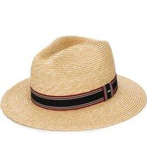 saint laurent chapéu panama com detalhe listrado - neutro