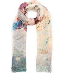 'libellula rose' print fringe cashmere scarf