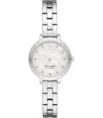 kate spade new york morningside bracelet watch, 28mm in silver/mop/silver at nordstrom
