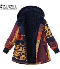 zanzea abrigo con capucha vintage para mujer prendas de abrigo chaqueta de felpa de felpa esponjosa -multicolor