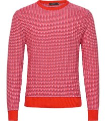 chester-structure knit stickad tröja m. rund krage röd j. lindeberg