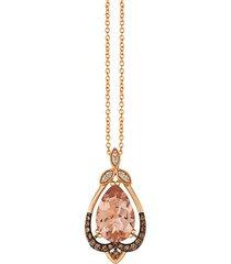 chocolatier® 14k strawberry gold®, peach morganite™ & chocolate diamonds® & vanilla diamonds® pendant necklace