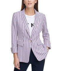 dkny patterned cuffed blazer