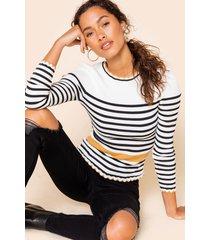 women's nyla striped color block sweater in black/white by francesca's - size: l