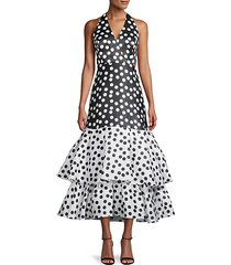 polka dot ruffled high-low dress