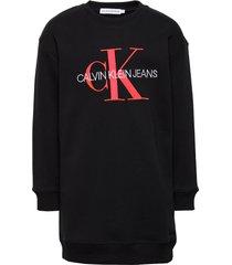 neon monogram sweatshirt dress jurk zwart calvin klein