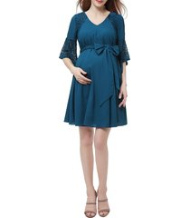 women's kimi and kai abbey lace trim maternity dress, size large - blue