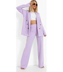 blazer met knopen en broek met naaddetail set, lilac
