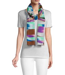 abstract-print cotton scarf