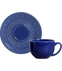 jogo de xícaras de chá 12 pçs greek azul navy porto brasil