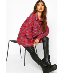 woven oversized pocket detail flannel shirt, red