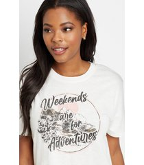 maurices womens weekends are for adventures oversized graphic tee white