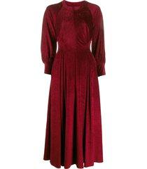 talbot runhof wide sleeved midi dress - red