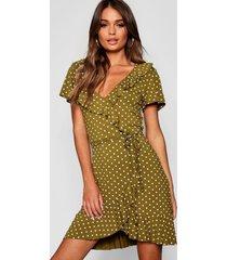 polka dot wrap front ruffle tea dress, olive