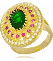 anel flor rendada e zircônia central verde 3rs semijoias dourado