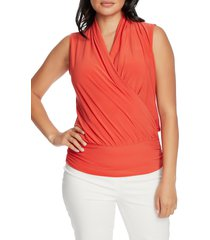 women's chaus sleeveless faux wrap top, size medium - red