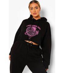 plus korte universal hoodie met zoom strik, black