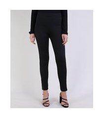 calça legging feminina cintua alta estampada escama de peixe com zíper preta