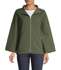 lafayette 148 new york women's ford stand collar jacket - ficus - size s