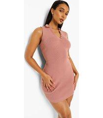 fijn gebreide mini jurk met polo kraag, rose pink