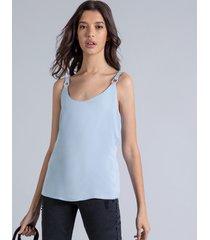 blusa com alças argolas azul momento - lez a lez