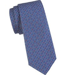 canali men's geo diamond dot silk tie - navy