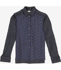 bally wings printed silk shirt blue 38