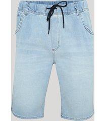 bermuda jeans masculina em moletom relaxed com bolsos azul claro