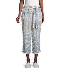 vintage havana women's tie-dyed cropped pants - blue grey - size m