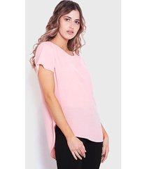 blusa wados manga corta escote redondo rosa - calce holgado